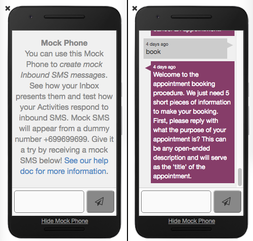 How are Activities tested with Mock 'simulated' SMS messages